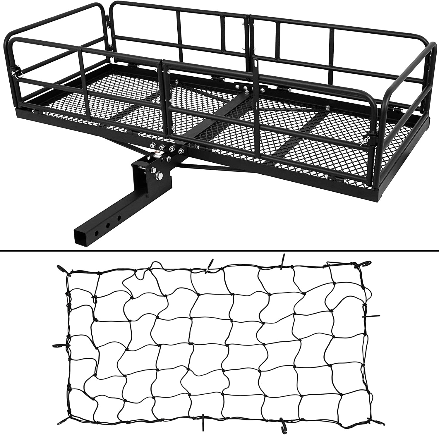 Net Hitch Stabilizer /& 2 Ratchet Straps Combo 500 Lbs Capacity Fit 2 Receiver for SUV Pickup Car ARKSEN 60 x 24 x 14 Hitch Mount Cargo Carrier Folding Cargo Rack with Cargo Bag
