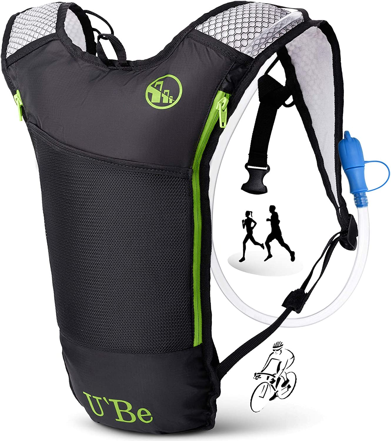 U Be Hydration Pack Water Backpack – Camelback for Running Hiking Biking – Camel Backpack with 2l Water Bladder