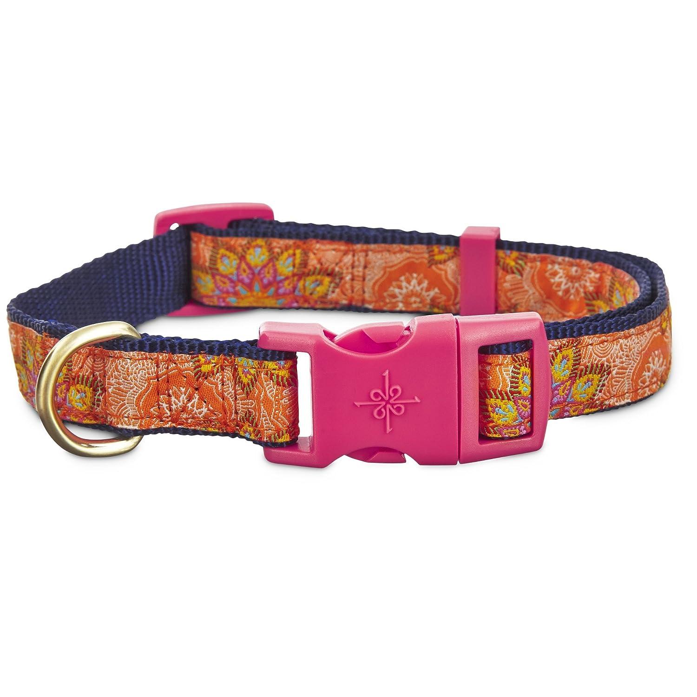 Large Good2Go orange and Pink Paisley Dog Collar, Large