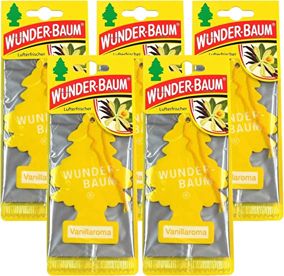 Wunderbaum 5 X Vanilla Aroma Original Air Freshener Car Fragrance 1 Piece Auto