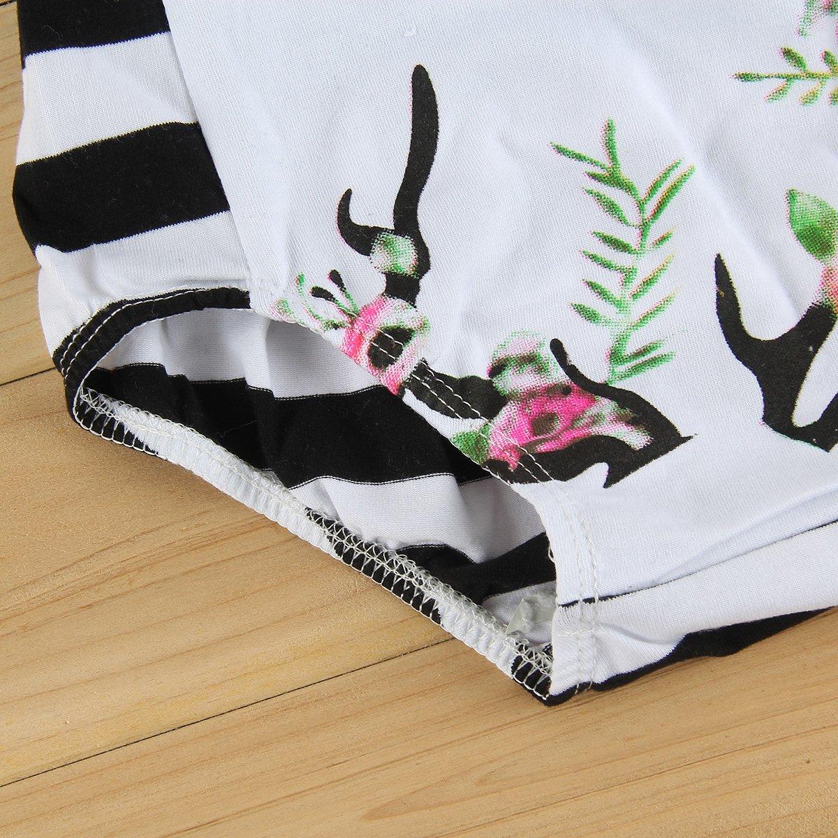 Puseky Baby Girls Reindeer Elk Bodysuit Strap Romper Playsuit Jumpsuit Outfits 6-12 Months, White+Black