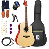 "Vangoa - 41"" Full-Size Natural Acoustic Electric Cutaway Guitar + 4 Band EQ with Bag, Strap, Tuner, String, Picks, Capo"