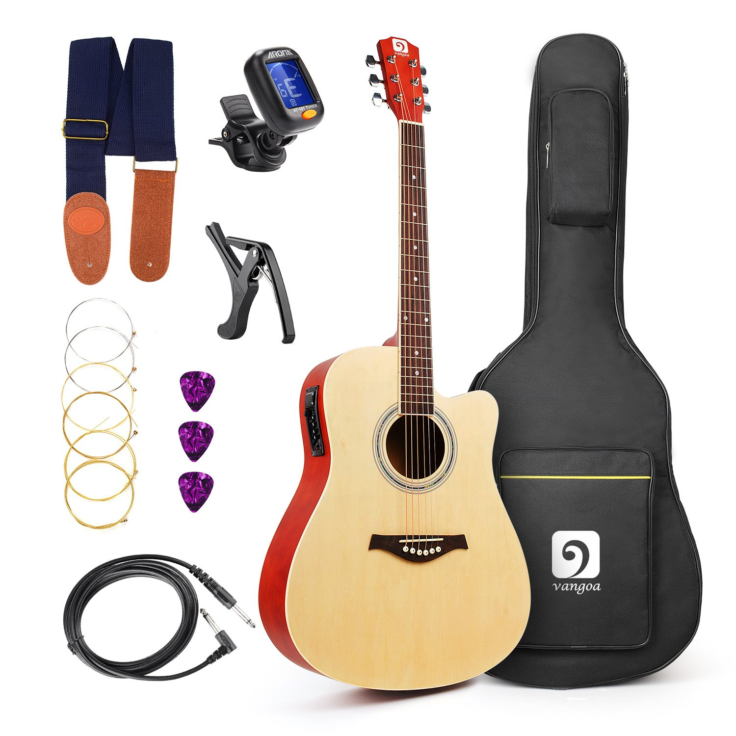 Vangoa - 41'' Full-Size VG-41ECNA Natural Acoustic Electric Cutaway Guitar + 4 Band EQ with Bag, Strap, Tuner, String, Picks, Capo by Vangoa (Image #1)