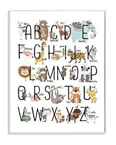 The Kids Room by Stupell Boho Animal ABCs Wall Art Signs and Plaques