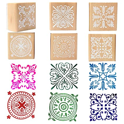 ceb65ae69e Amazon.com: Wooden Rubber Stamp Square Floral Pattern For DIY Craft ...