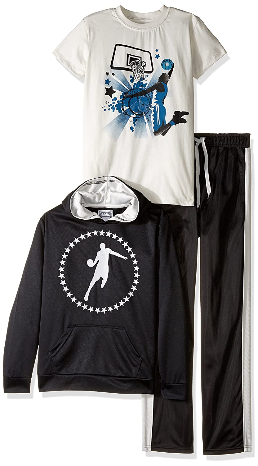 Team8 Boys' 3 Piece Mesh Graphic Hoodie Track Pant and Short Sleeve Graphic Tee Set 3 Piece Set