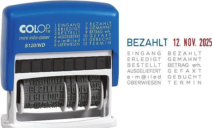 Datum Stempel blau rot 12 Texte 4 mm Colop Wortbandstempel Mini Dater S120//WD