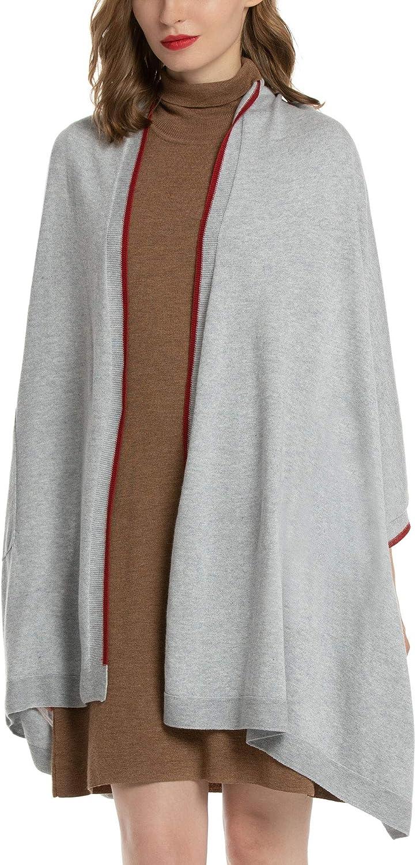 Woolen Bloom Damen Poncho Schal Wrap Warmer Strickschal Open Front Cape Eleganter Damenschal Winterschal Deckenschal
