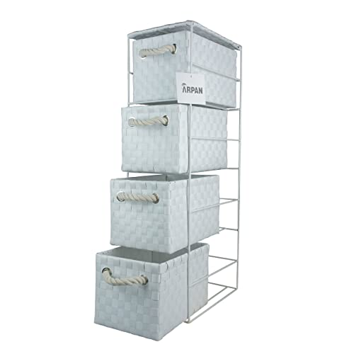 Arpan White 4 Drawer Storage Cabinet Unit Ideal For Home/Office/bedrooms (4-Drawer unit -18x25xH65cm)