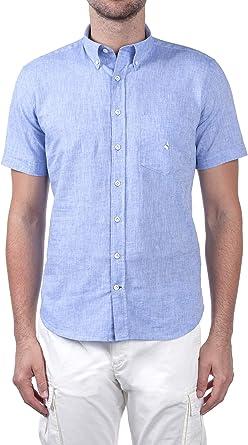 Navigare - Camisa para hombre, mezcla de lino, manga corta ...