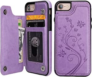 iPhone 7 iPhone 8 iPhone SE 2020 Case Wallet with Card Holder, Vaburs Embossed Butterfly Premium PU Leather Double Magnetic Buttons Flip Shockproof Protective Cover for iPhone 7/8/SE 2020 Case(Purple)