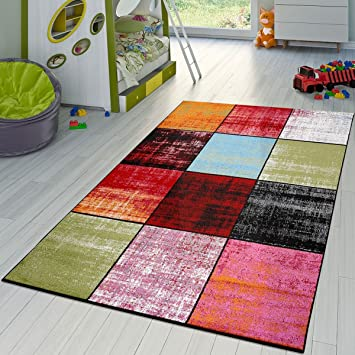T&T Design Tapis Carreau Rouge Noir Gris Vert Rose Chiné Moderne ...