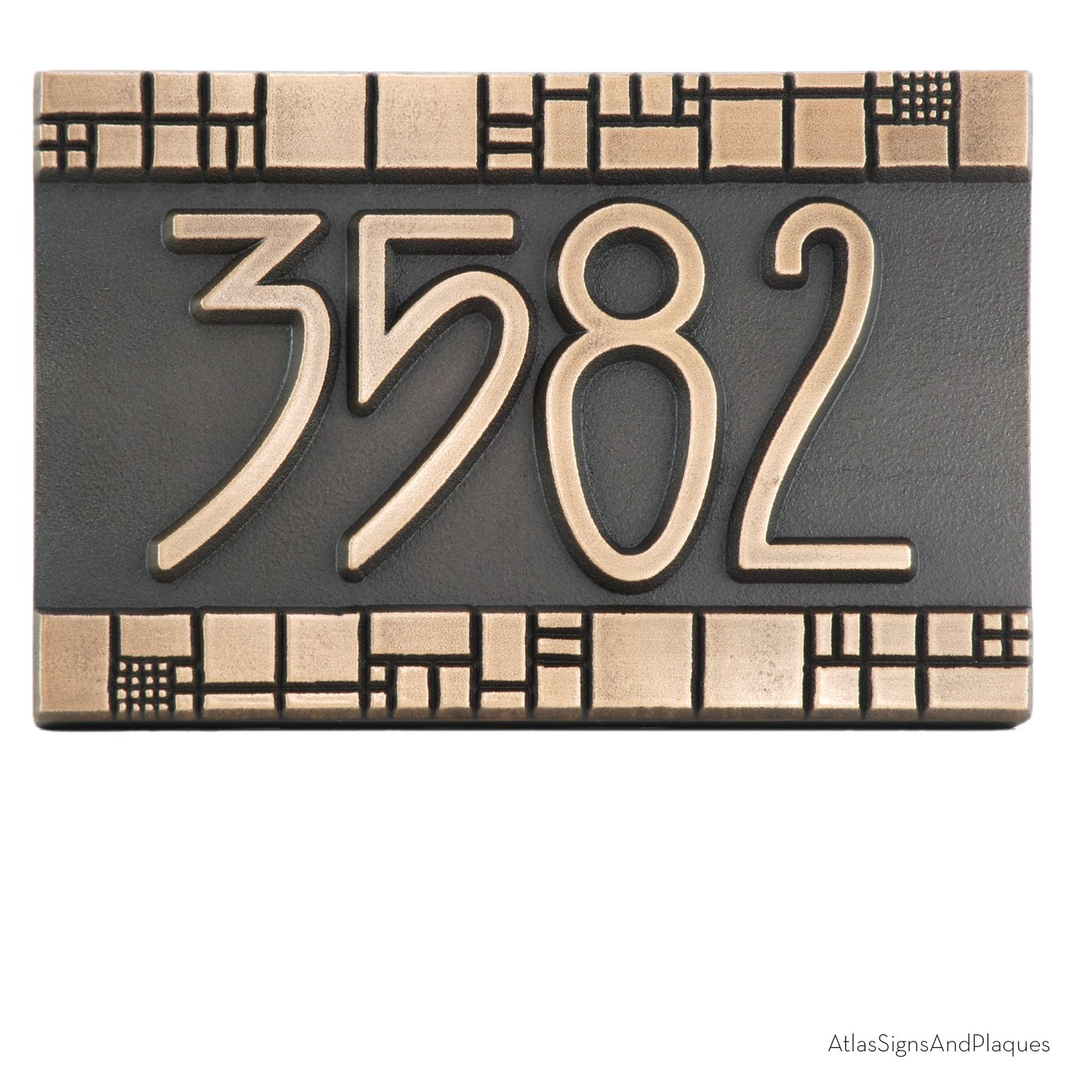 The Batchelder Tile Address Plaque 12x8 - Raised Bronze Patina Metal Coated by Atlas Signs and Plaques