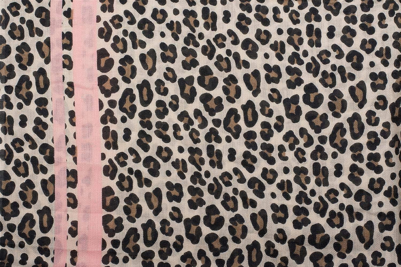 styleBREAKER Damen Schal mit Leo Muster Tuch 01017082 farbigem Streifen und Fransen