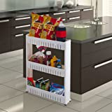 Slim Slide Out 4 Tier Storage Cart with Wheels by