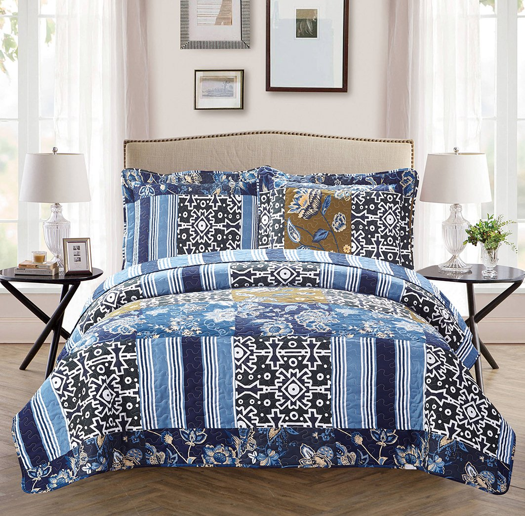 Mk Collection 2pc Twin/Twin Extra Long Oversize Reversible Quilted Bedspread Set Floral Navy Blue White Green Blue Beige New Mk Home