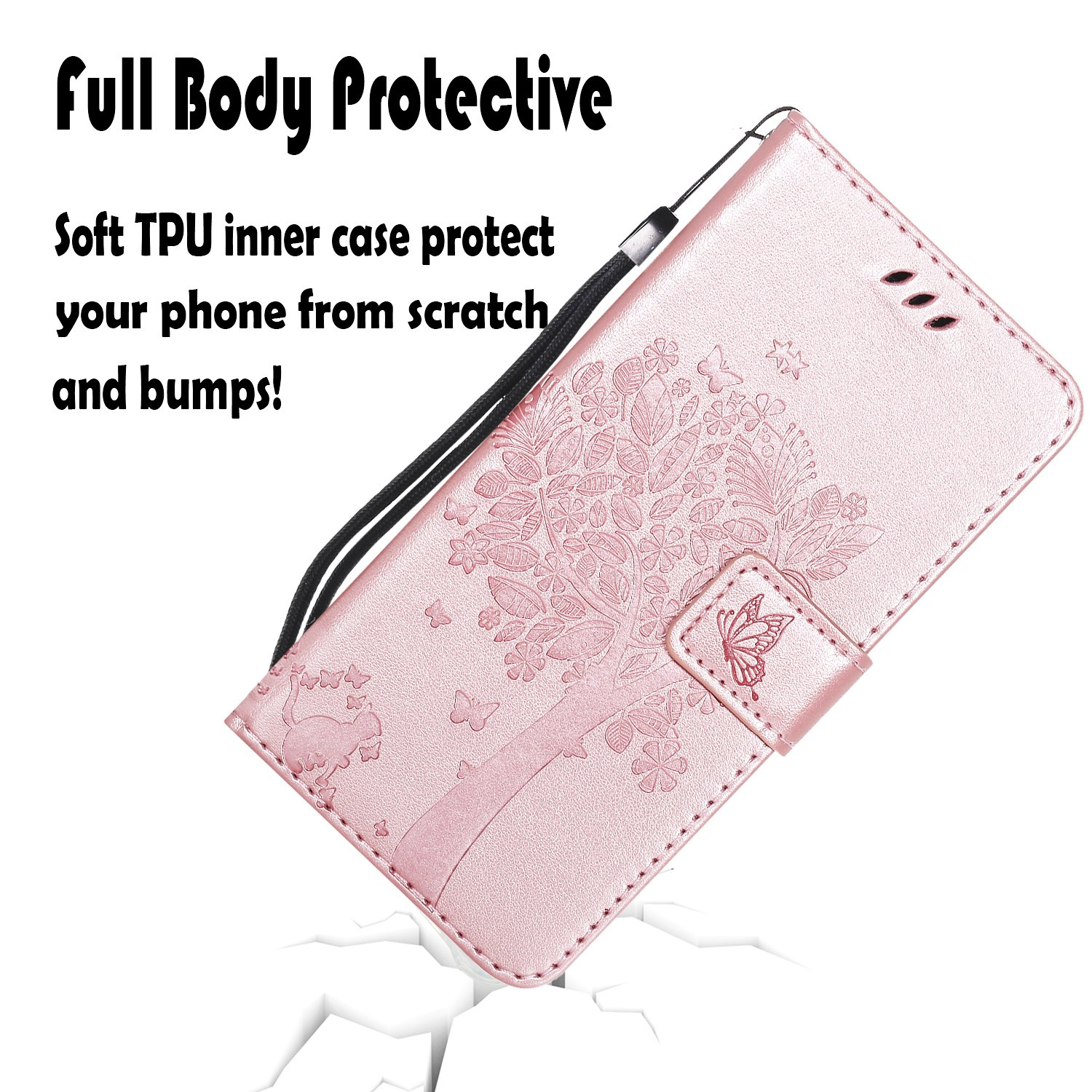 NOMO Galaxy S10 Case,Samsung S10 Wallet Case,Galaxy S10 Flip Case PU Leather Emboss Tree Cat Flowers Folio Magnetic Kickstand Cover with Card Slots for Samsung Galaxy S10 Rose Gold by NOMO (Image #2)