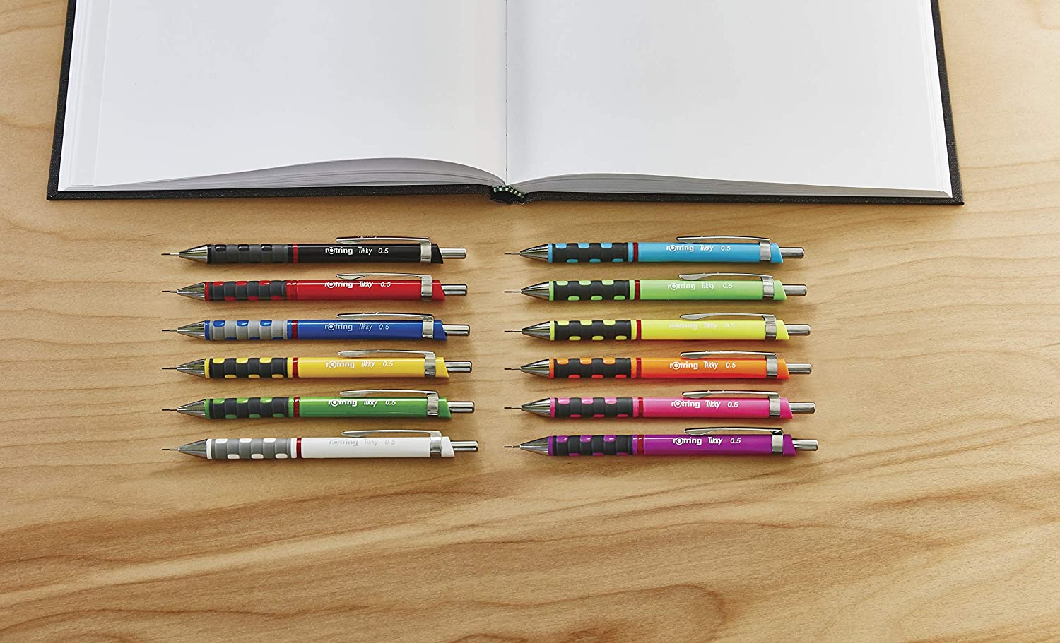 Includes 12 Leads and Eraser Black Barrel HB 0.5 mm rOtring Tikky Mechanical Pencil Set