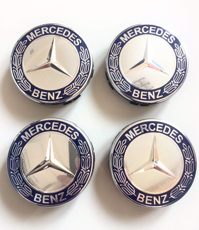 coprimozzo copricerchi coprimozzo Felgendeckel MB Copricerchione Mercedes Benz 4 x 75 mm Colore: Blu