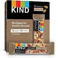 KIND Bars, Madagascar Vanilla Almond, Gluten Free, Low Sugar, 1.4oz, 12 Count
