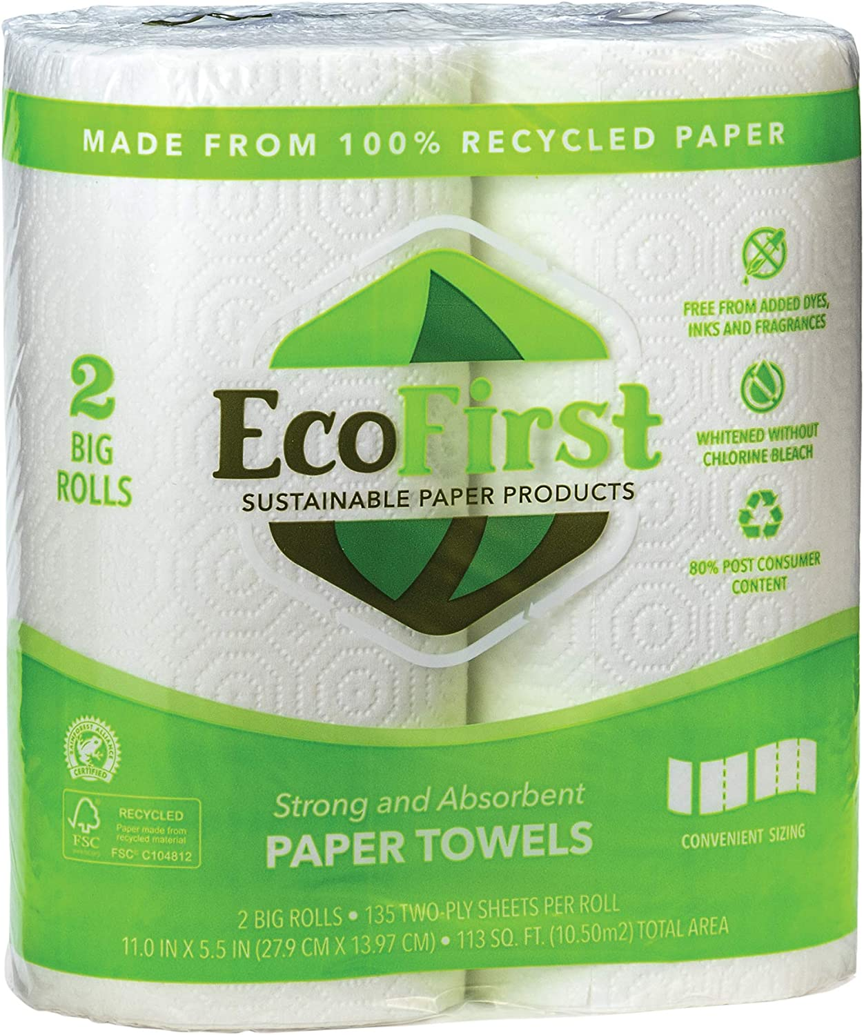 Recycled Paper Towels 2 Rolls, 113 sq.ft