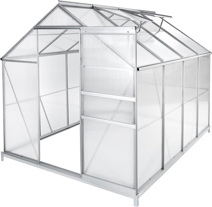 TecTake Invernadero de policarbonato Aluminio Growhouse con Ventana y Puerta corredera – Diferentes Modelos –: Amazon.es: Jardín
