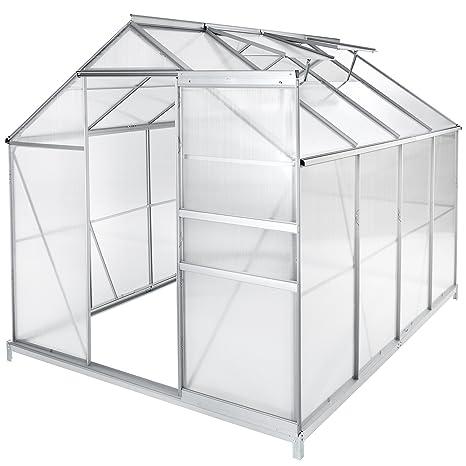 TecTake Invernadero de jardín policarbonato transparente aluminio casero plantas cultivos - varios modelos - (250x185x195