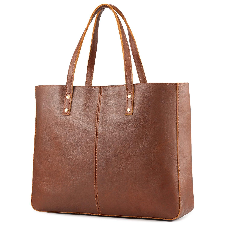 Kattee Genuine Cow Leather Tote Bag Vintage Large Handbag (Brown)