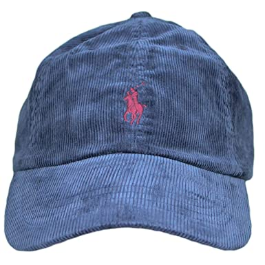 Ralph Lauren Casquette en Velour Bleu Marine Logo Rouge Bordeaux pour Homme c484042e7aa