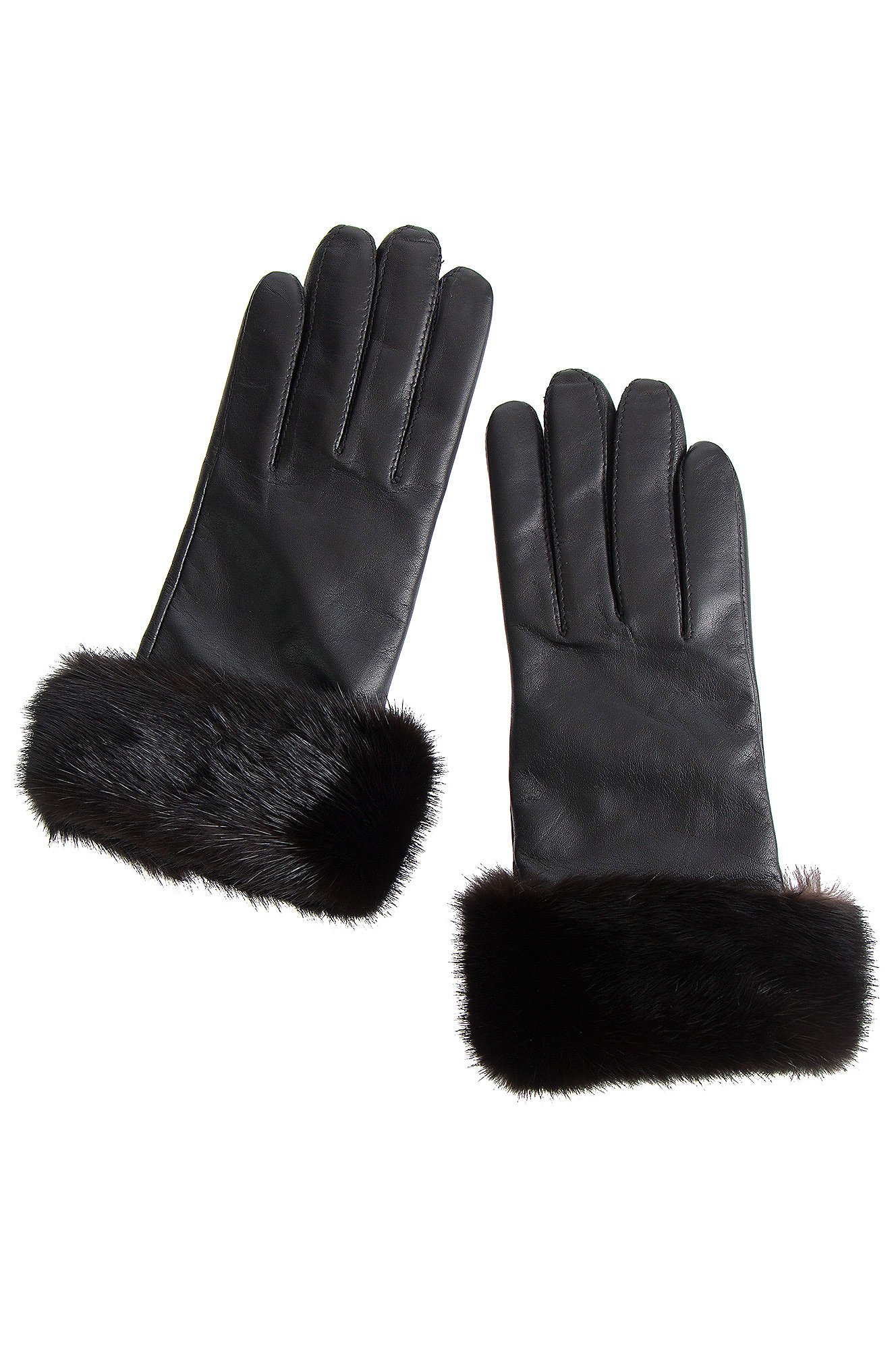 Women's Wool-Lined Lambskin Leather Gloves with Mink Fur Trim, BLACK/MAHOGANY, Size 7