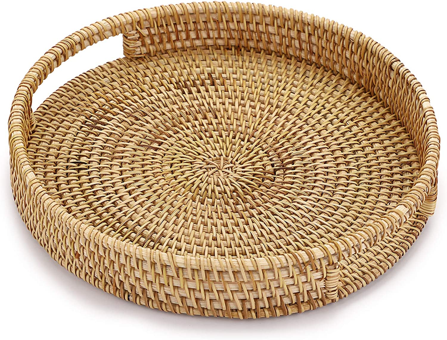 Rattan Storage Tray Round Basket with Handle Hand-Woven Rattan Tray Wicker
