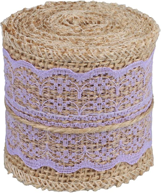 1x 5M Hessian Burlap Ribbon Lace Trim Edge Natural Jute Tape Wedding Supply new