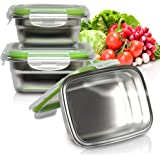 [LIFETIME LIDS] Stainless Steel Food Containers with Leakproof Lids - Set of 3 - Perfect Lunch/Food Storage Box - Reusable, Eco-Friendly, BPA-Free Great for Outdoor/On the Go Healthy Snack/Side