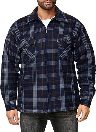 EGOMAXX Camisa térmica para Hombres Transición Chaqueta Leñador A Cuadros Fleece Franela: Amazon.es: Ropa y accesorios