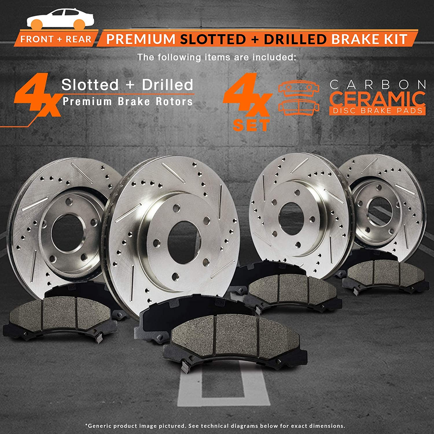 Premium Slotted Drilled Rotors + Ceramic Pads Max Brakes Front /& Rear Performance Brake Kit KT061333 Fits: 2005-2007 Ford Freestyle 500 Mercury Montego
