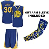 Steph Curry Blue Kids Basketball Jersey Shorts Set Youth Sizes Premium Quality Gift Set with Compression