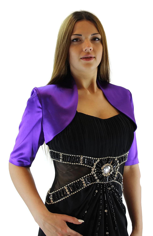 #991 Damen Luxus Satin Bolero Halbarm Kurzarm 36 38 40 42 44 46 48 50 52 54 56 Lila