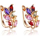 Yellow Chimes Colourful Leafy High Quality Swiss AAA Zircon Clip On Earrings for Women and Girls