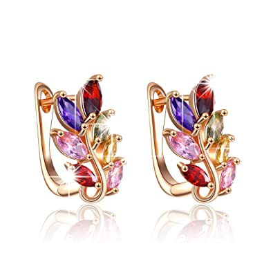 b4a90646361fe Yellow Chimes Colourful Leafy Swiss AAA Zircon Clip on Metal Earrings for  Women and Girls (Multi-Colour)