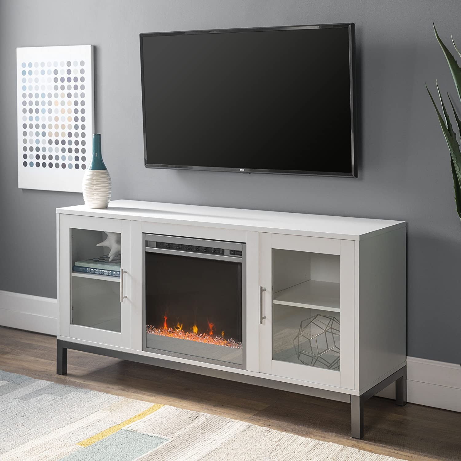 WE Furniture Modern Glass and Wood Fireplace Universal Stand with Open TV s up to 58 Flat Screen Living Room Storage Entertainment Center, White