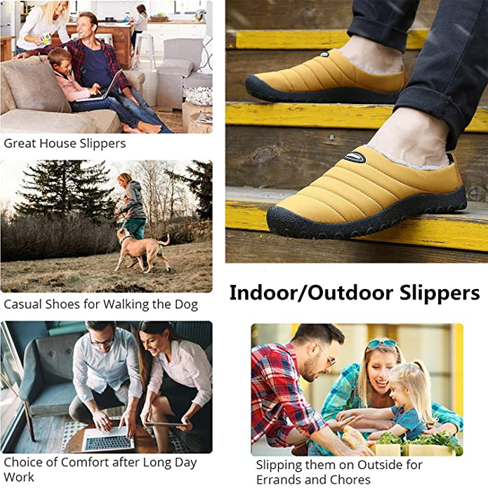 1fc37bfe96672 Amazon.com | YOOEEN Mens Womens Indoor Outdoor Slippers Waterproof Fur Lined  House Slippers Winter Snow Warm Shoes | Slippers