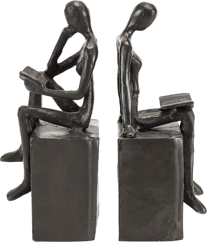 Danya B. Metal Art Shelf Decor - Decorative Cast Iron Bookend Set - Man and Woman Reading on a Block