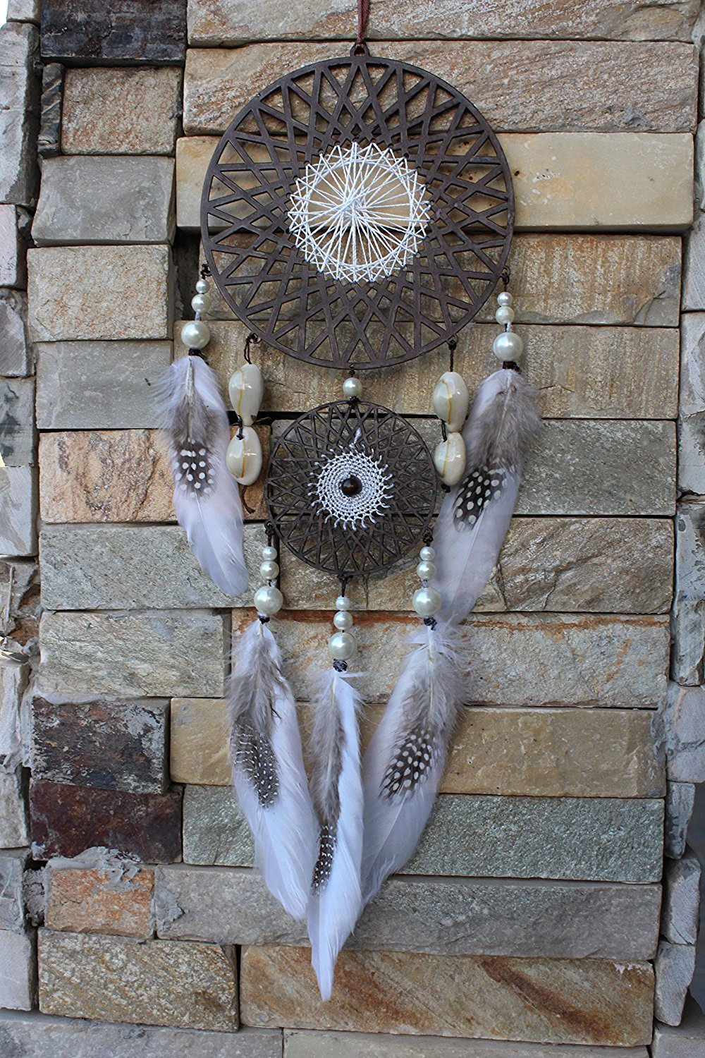 Daedal dream catchers Wood and Thread Blend Dream Catcher (30cm L X 17cm W X 1cm D) Pearl And Cowrie Shells Wall Hanging DDC112