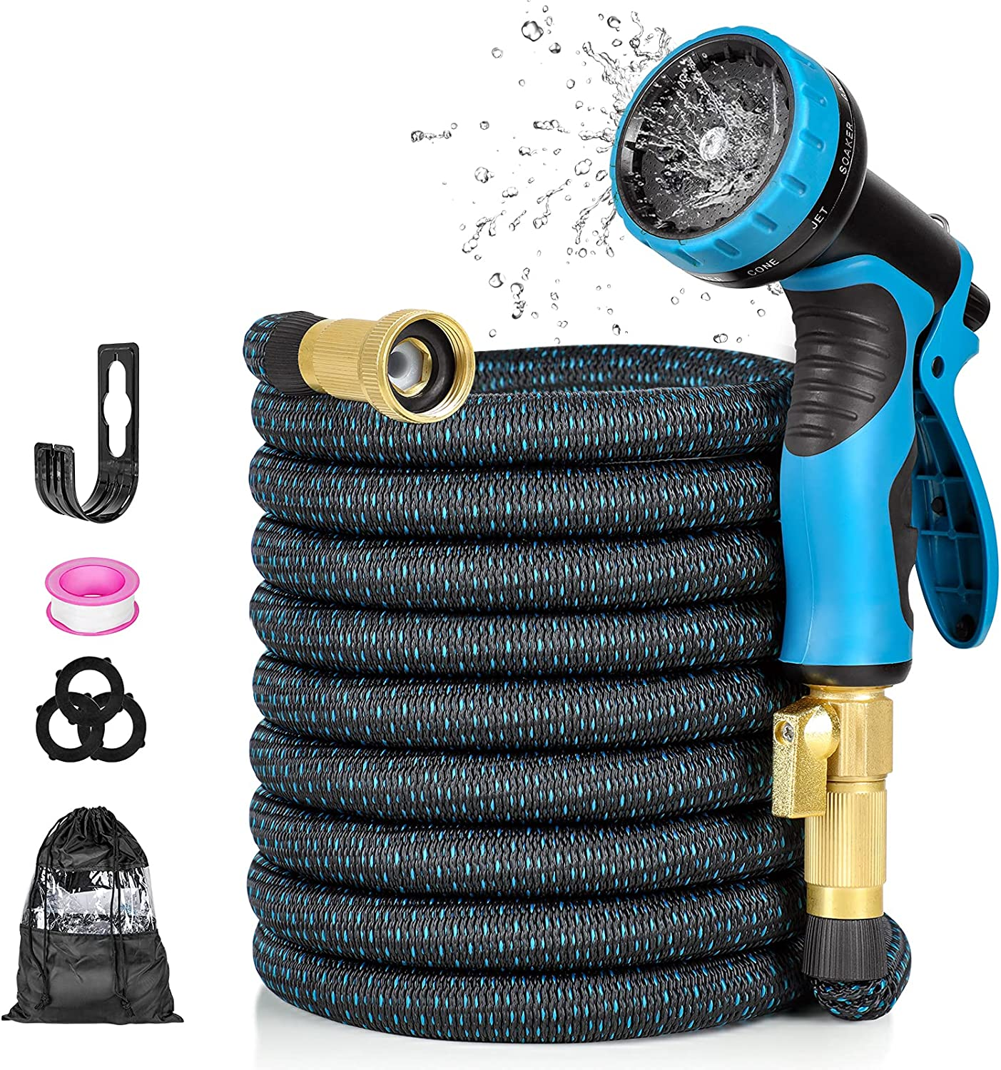Nuaer Garden Hose, 50ft Expandable Water Hose, Flexible Water Hose With 3 Layer Latex Core 3/4