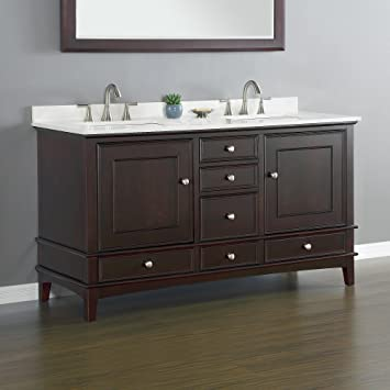 Mission Hills Furniture Cambridge Double Sink Combo Traditional Bathroom  Vanity Storage Set Complete 60.0u201dL