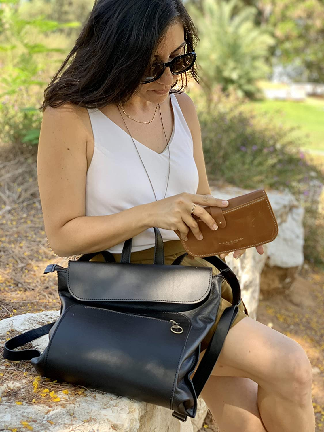 Unique Gift for her Fashion Mini backpack Shoulder Bag 3 in 1 Leather Crossbody bags for women Handmade Bags Christmas gifts for mom