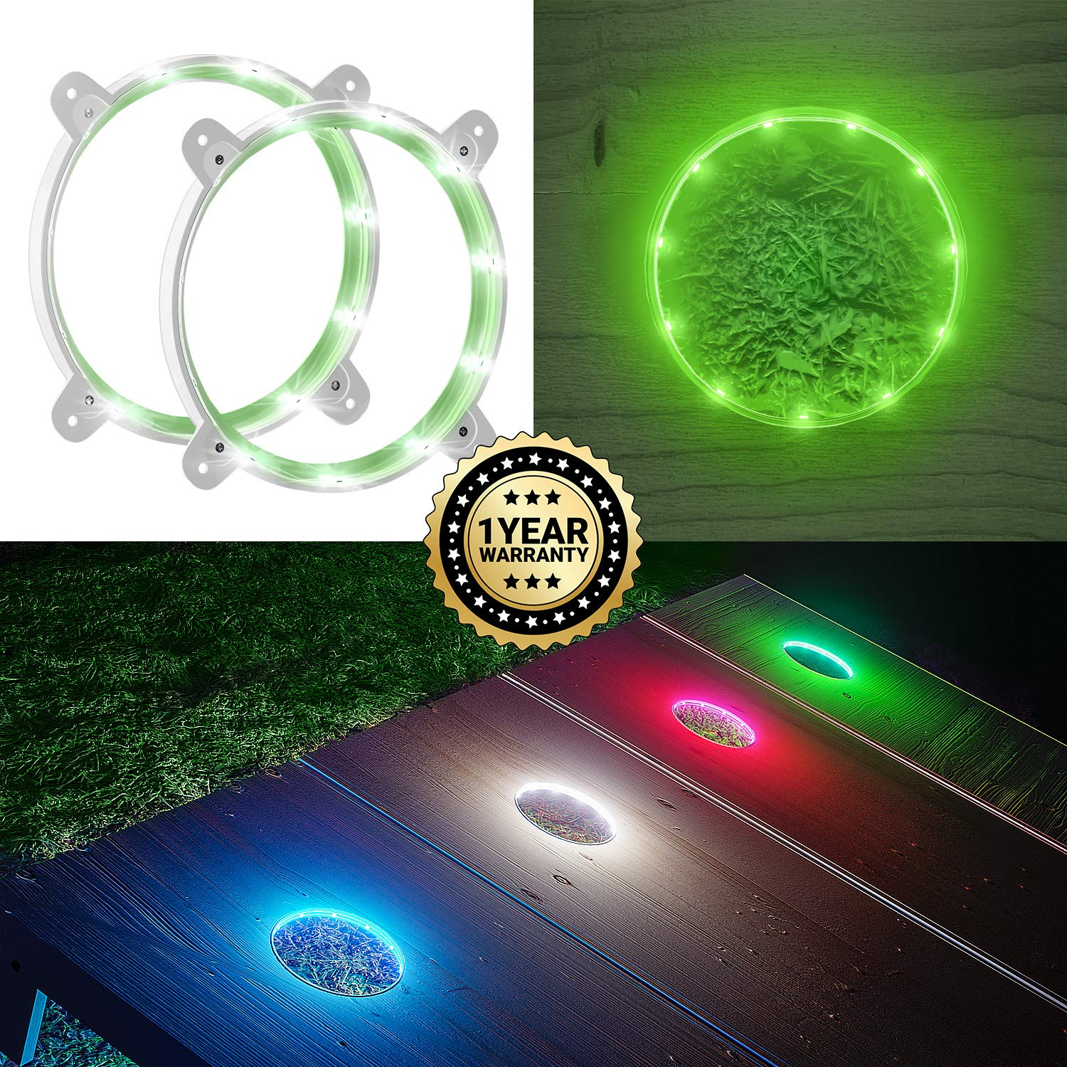 IMMOBIUS Cornhole LED Board Lights so You Can Play at Night! (Set of 2) -Choose from White or Blue- 1 Year Replacement Warranty, Sturdy Build, Lasts 60+ Hours on 2 AA Batteries! (Green)