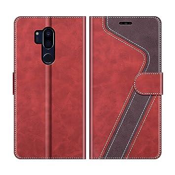 MOBESV Funda para LG G7 ThinQ, Funda Libro LG G7 ThinQ, Funda Móvil LG G7 ThinQ Magnético Carcasa para LG G7 ThinQ Funda con Tapa, Rojo