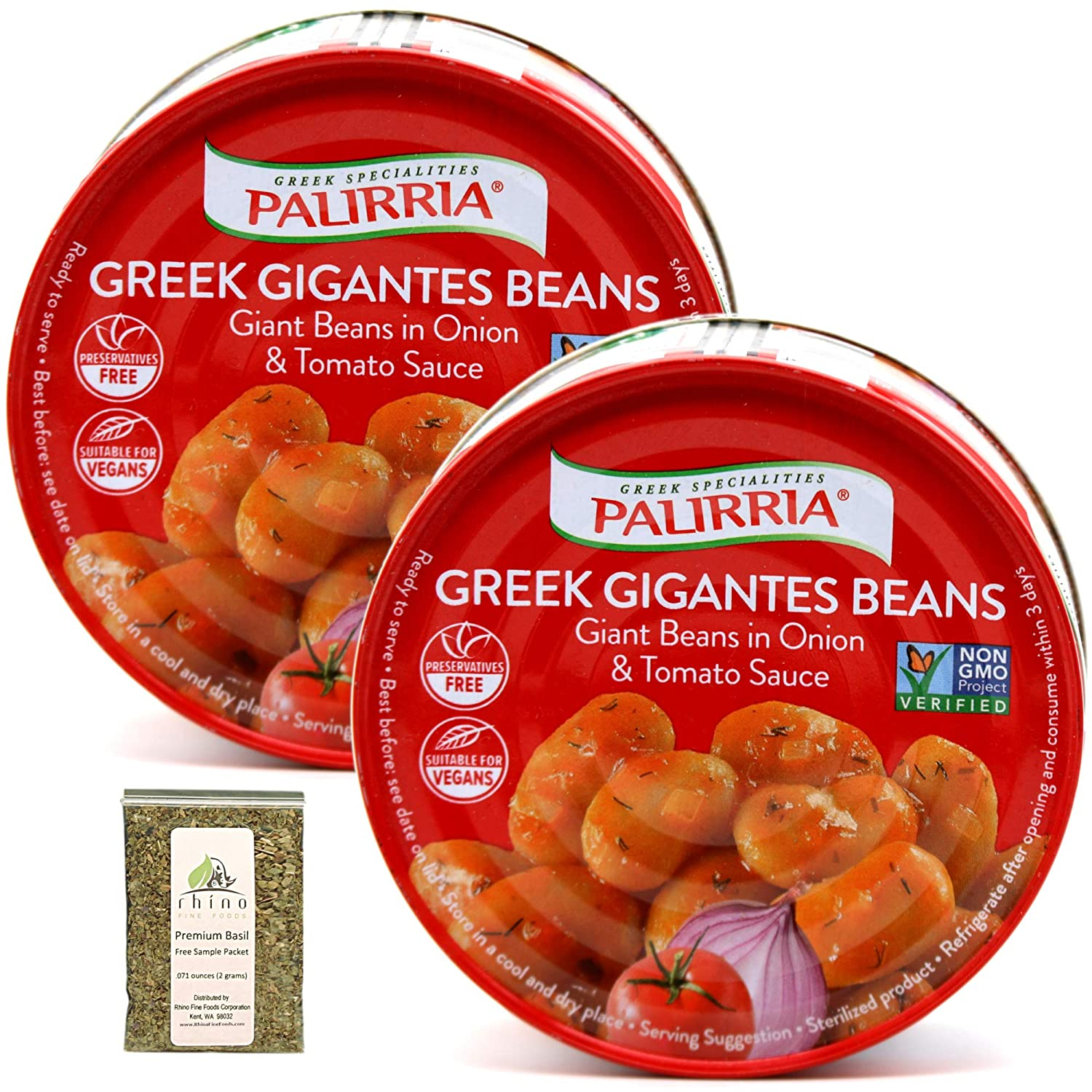 Palirria, Greek Gigantes Beans in Onion & Tomato Sauce (aka Massive Giant Greek Style Baked Beans), Non-GMO, 9.90 oz (Pack of 2) + Includes-Free Premium Basil Leaves from Rhino Fine Foods, .071 oz