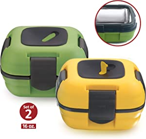 Lunch Box ~ Pinnacle Insulated Leak Proof Lunch Box for Adults and Kids - Thermal Lunch Container With NEW Heat Release Valve 16 oz ~Set of 2~ (Green-Yellow)